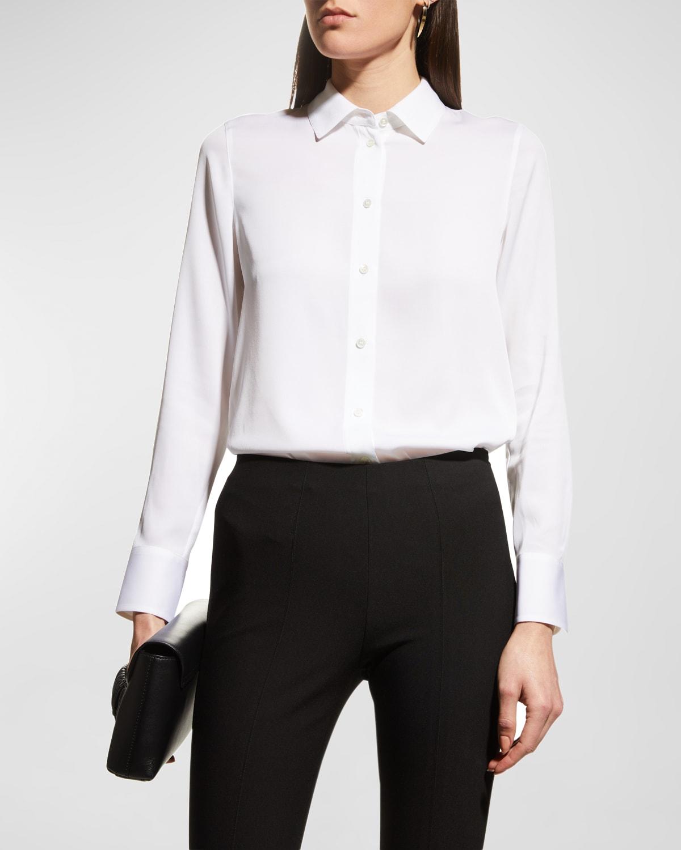 Slim-Fit Long-Sleeve Stretch-Silk Blouse