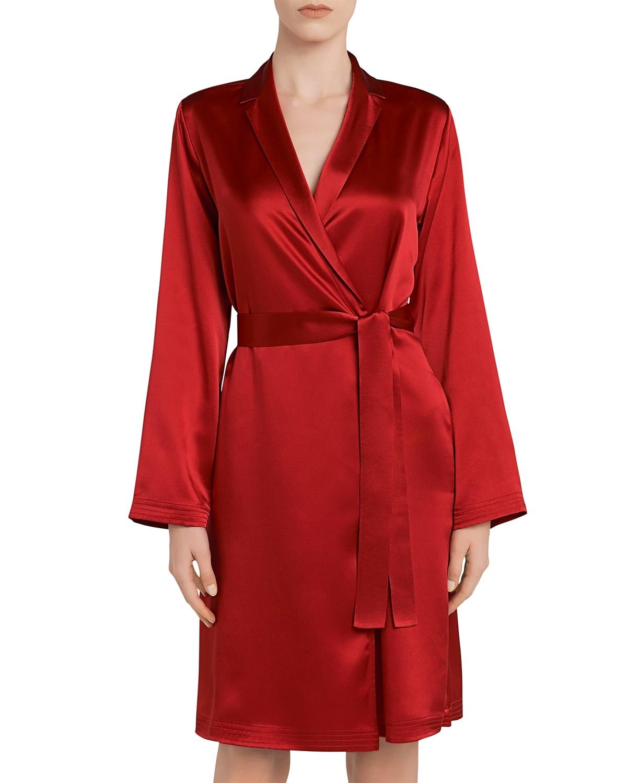 Silk Long-Sleeve Short Robe
