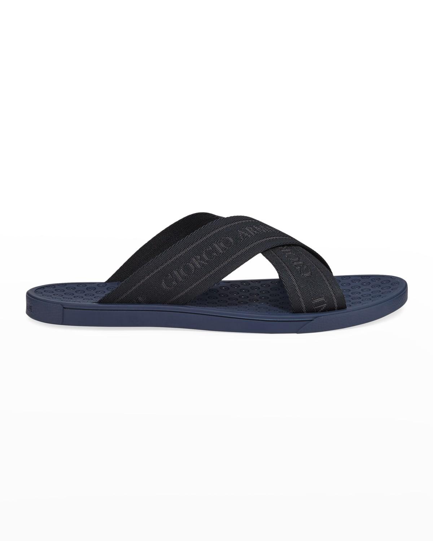 Logo Jacquard Crisscross Slide Sandals