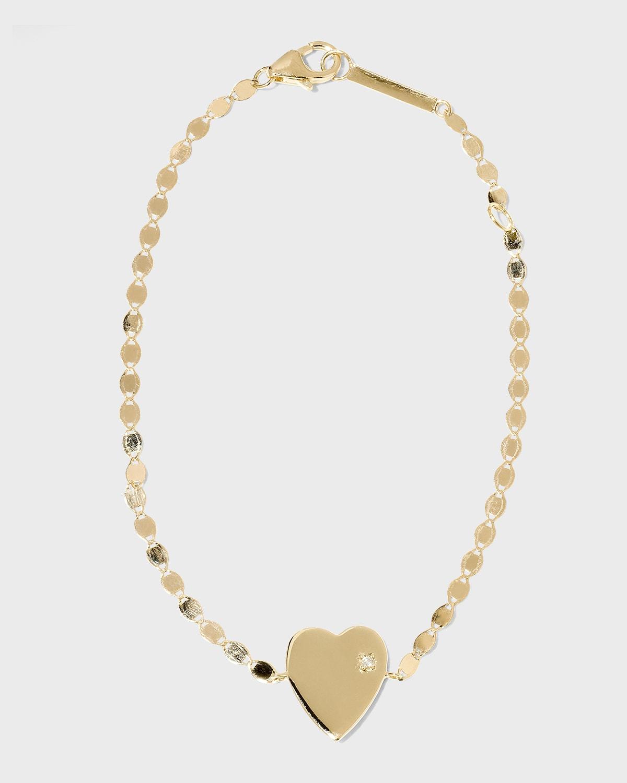 14k Petite Heart Bracelet w/ White Diamond