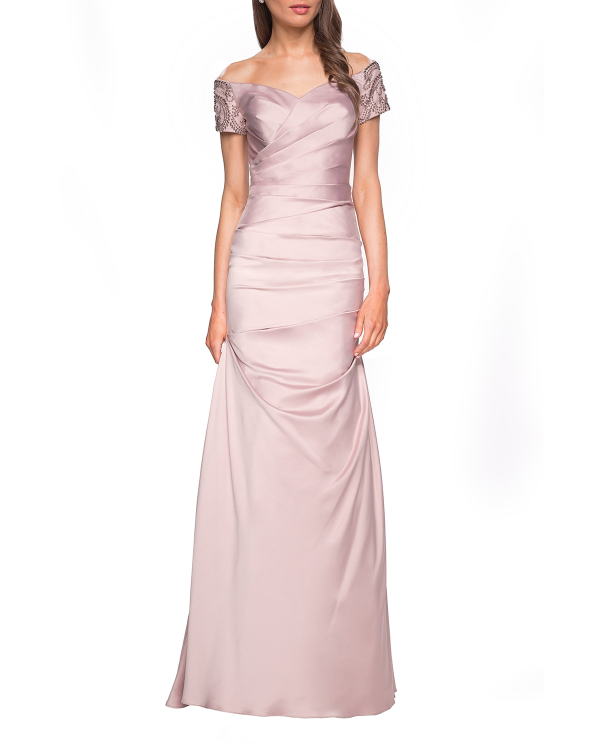 Ruched & Beaded Short-Sleeve Gown