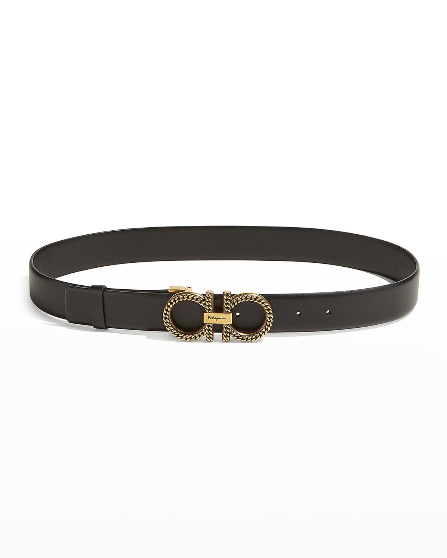 Chain Double-Gancini Leather Belt