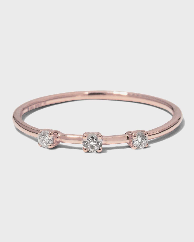 14k Solo Three-Diamond Wire Ring