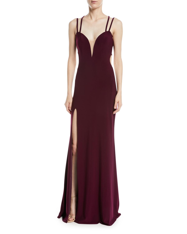 Strappy Matte Jersey Column Gown