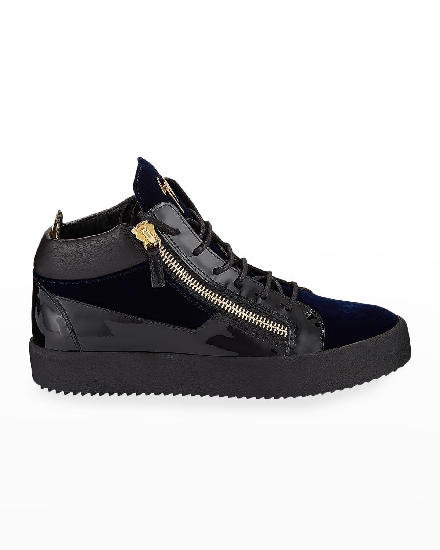 Men's Velvet %26 Patent Leather Mid-Top Sneakers