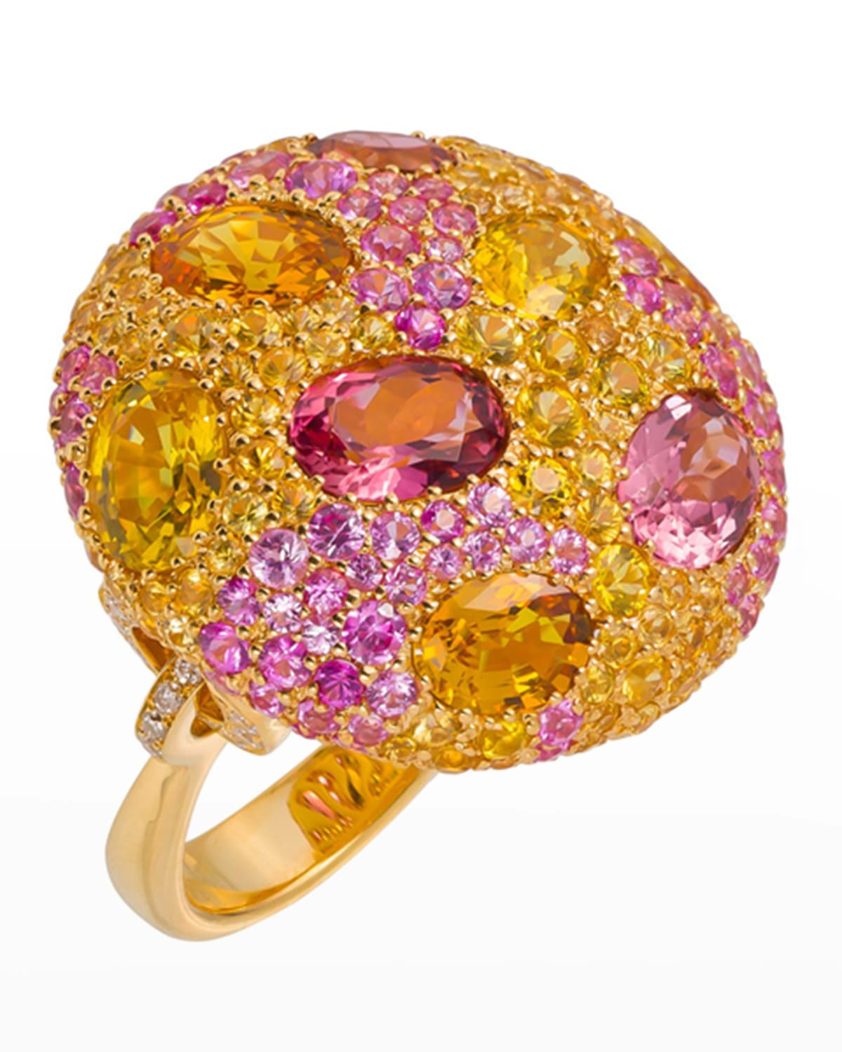 18k Gold & Stone Cookie Ring, Size 6.5