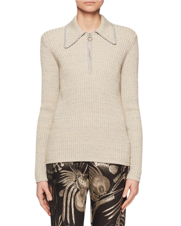 Zip-Collar Long-Sleeve Metallic-Knit Sweater