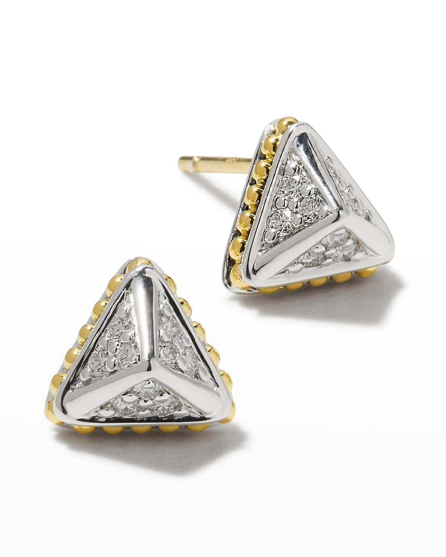 KSL Lux Diamond Silver & 18k Gold 9mm Pyramid Stud Earrings