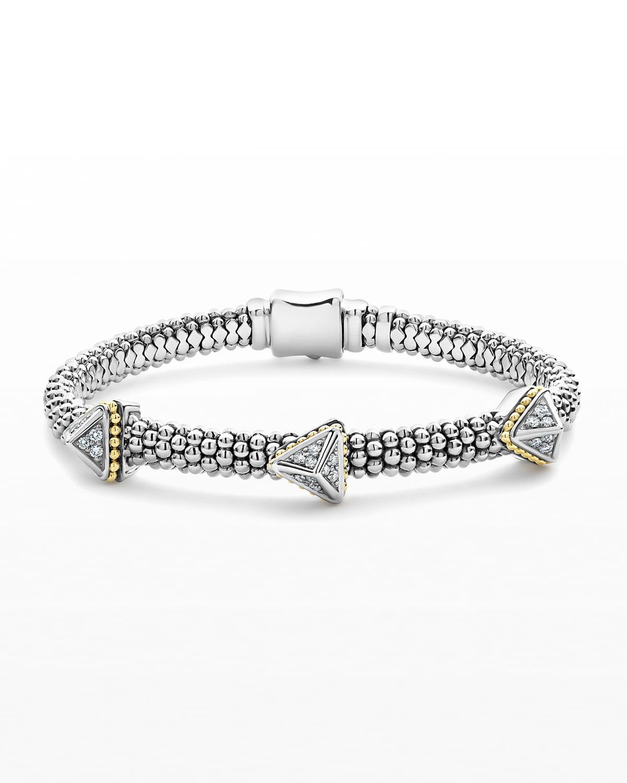 KSL Lux Diamond Silver & 18k Gold Triple Pyramid Bracelet