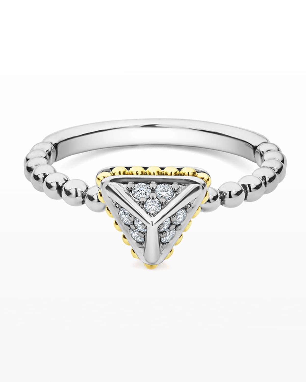 Diamond Lux Silver & 18k Gold 9mm Pyramid Ring
