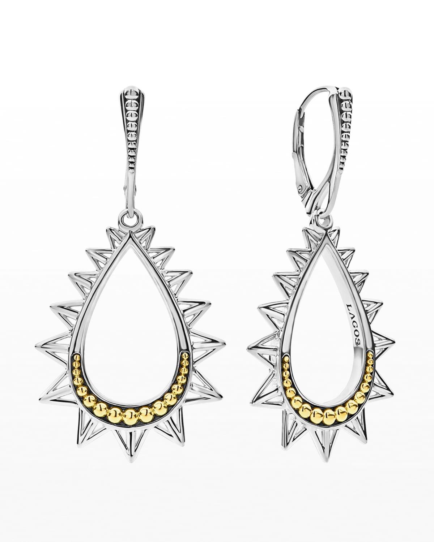 KSL Silver & 18k Gold Spiked Pear Drop Earrings