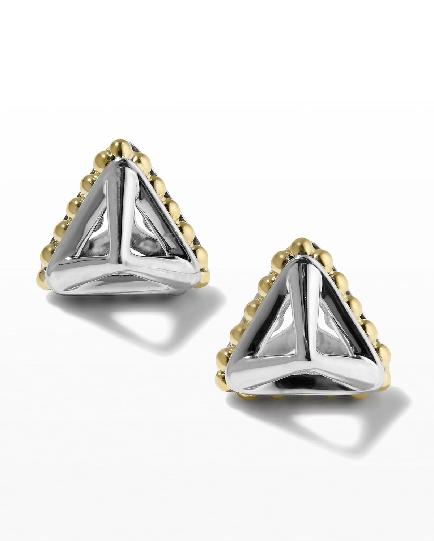 KSL Silver & 18k Gold 12mm Pyramid Stud Earrings