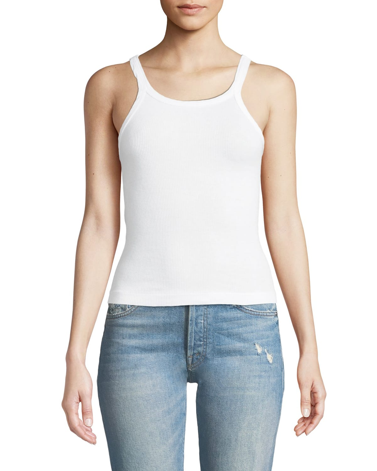 Ribbed Scoop-Neck Fitted Tank
