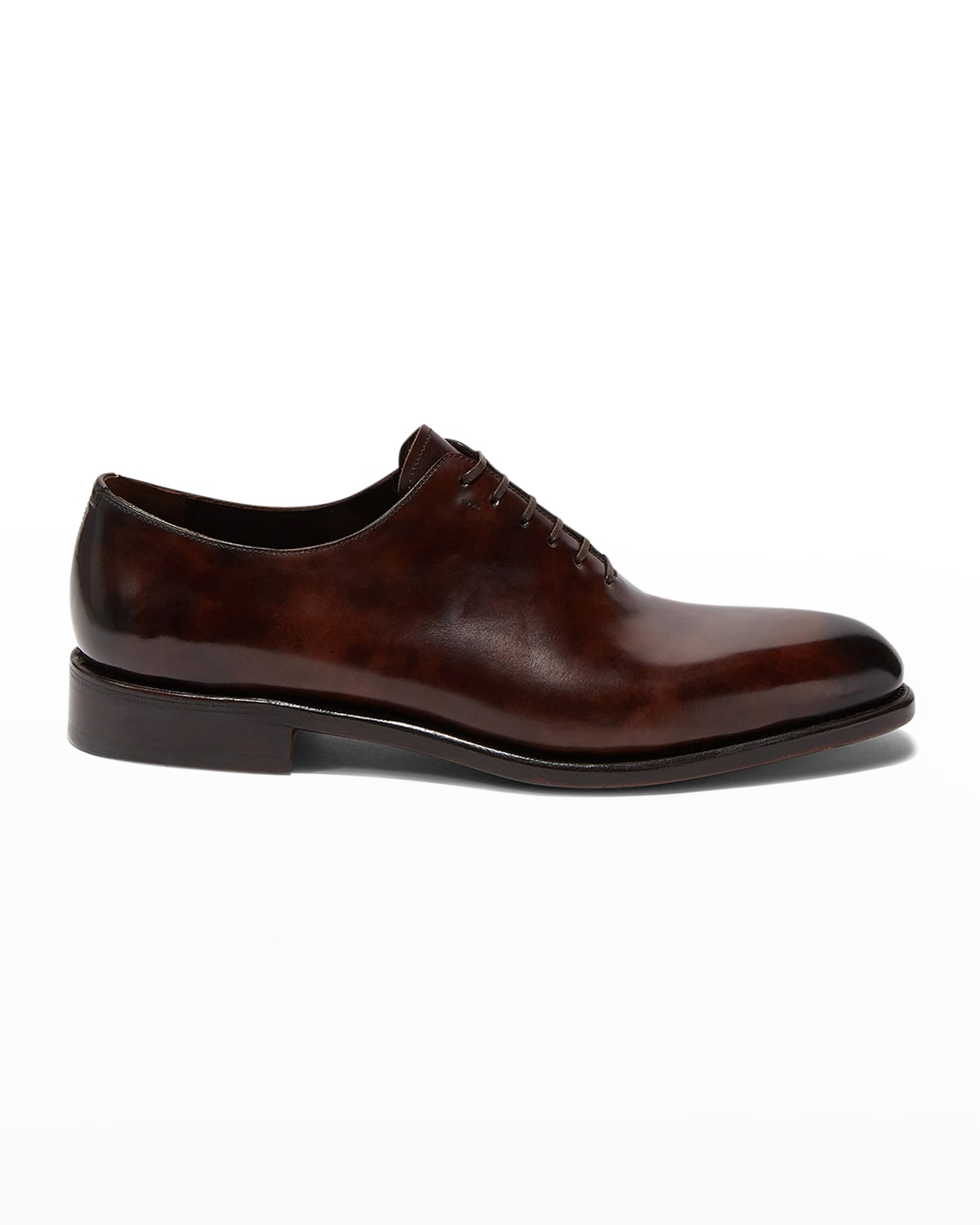 Men's Angiolo Tramezza Whole-Cut Leather Lace-Up Shoes
