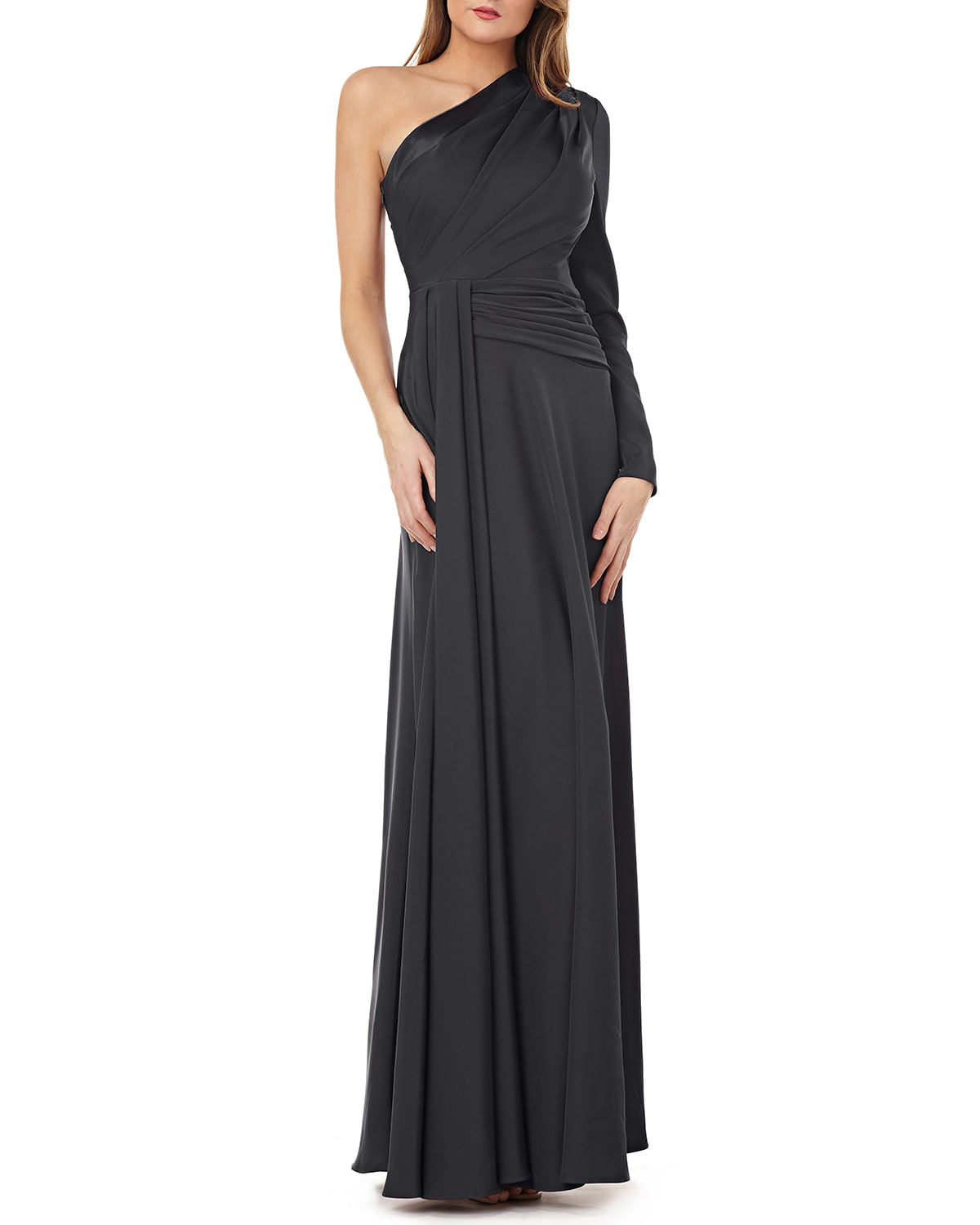 One-Shoulder Gown w/ Draped Sash