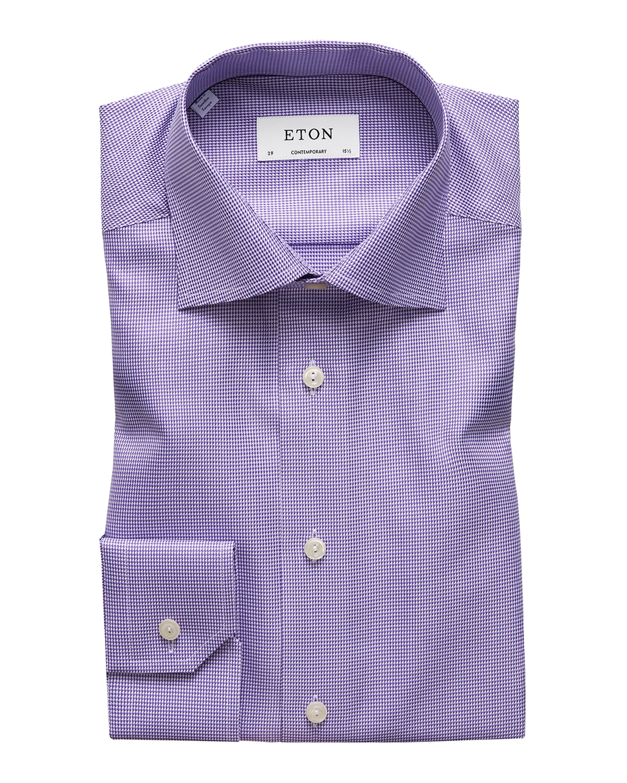 Men's Contemporary-Fit Houndstooth Dress Shirt