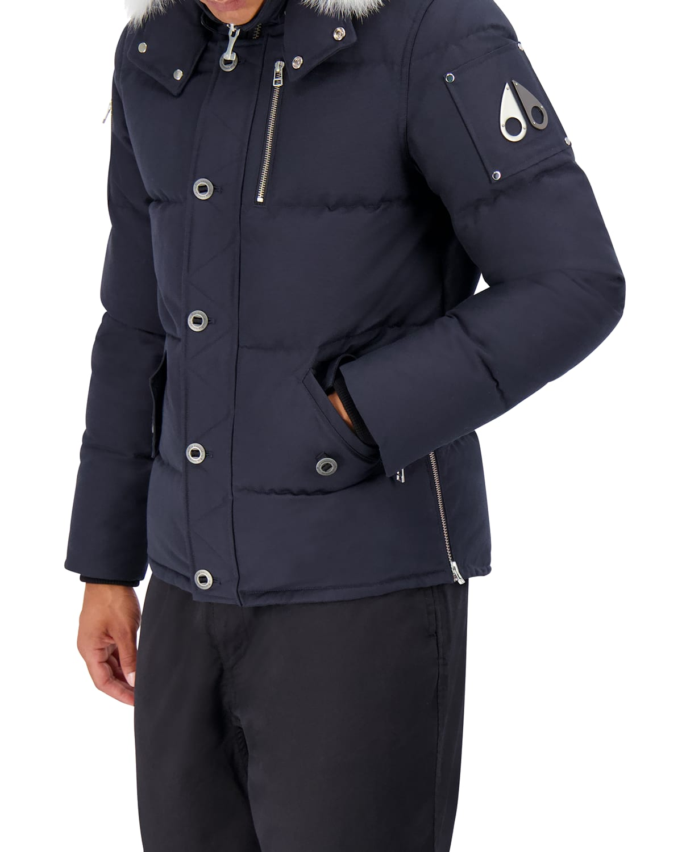 Men's 3Q Fur-Trim Bomber Coat