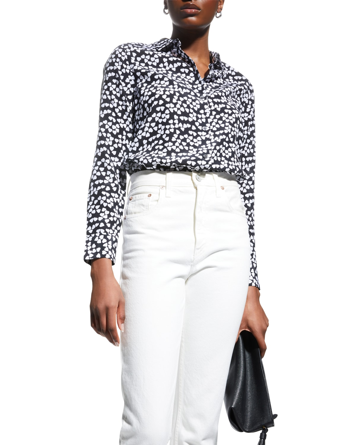 Hearts Silk Printed Button-Front Shirt