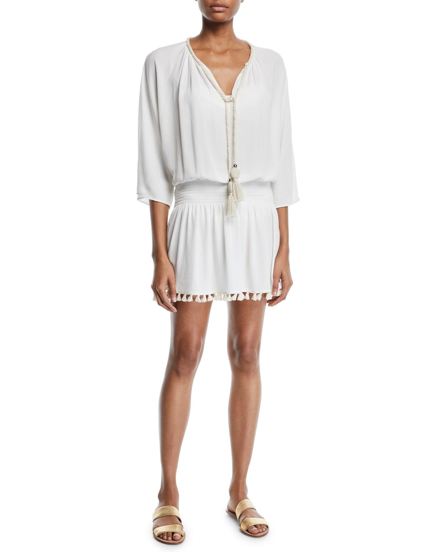 Katana 3/4-Sleeve Fringe Coverup Dress