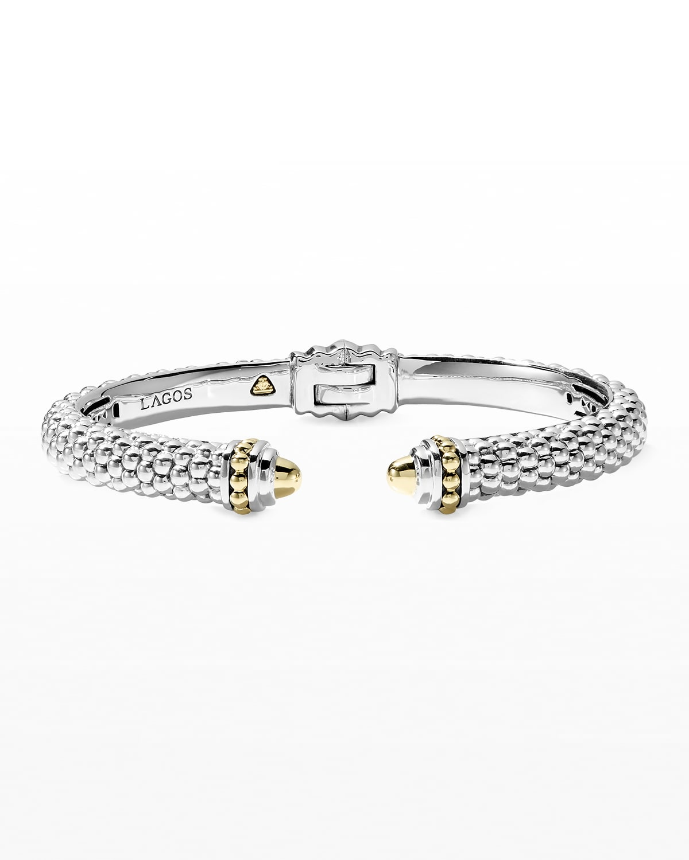 Silver & 18k Gold Signature Caviar Cuff Bracelet