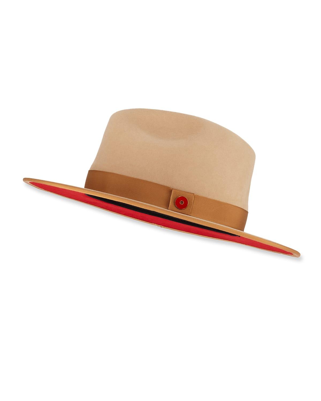 Queen Red-Brim Wool Fedora Hat