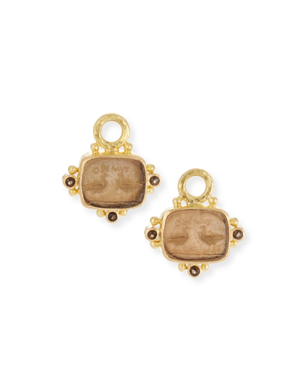 19k Gold Two Cranes Venetian Glass Earring Charms