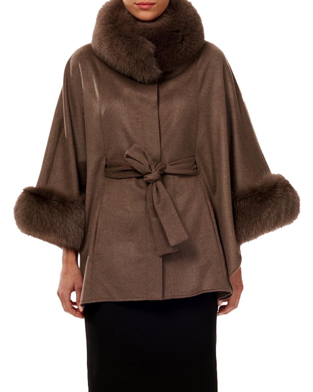 Cashmere Belted Cape w/ Fur Collar & Cuffs