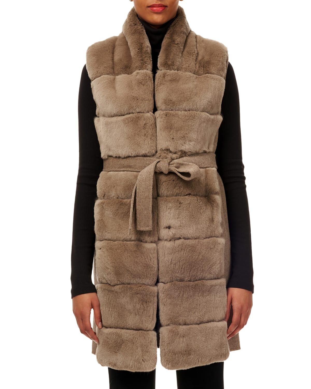 Belted Reversible Rabbit Fur Vest w/ Wool Back