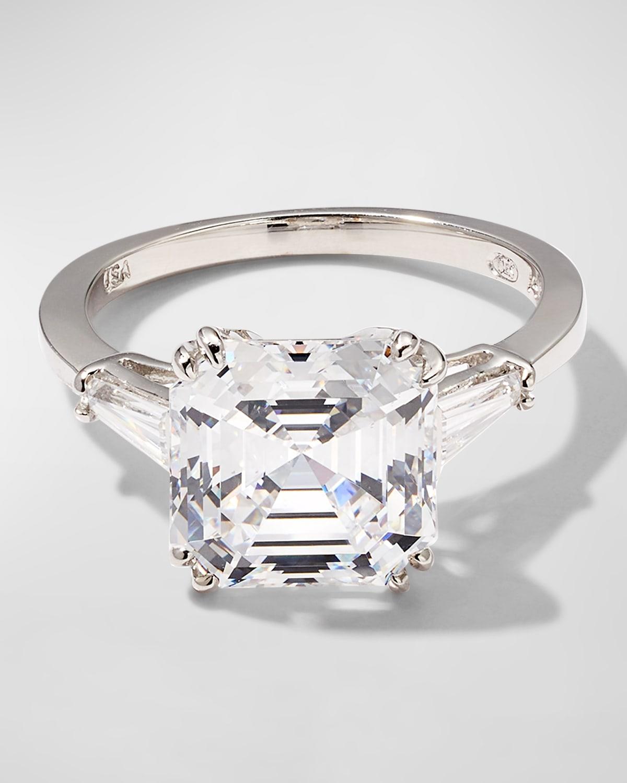 4.5 TCW 14k White Gold Asscher Cubic Zirconia Ring