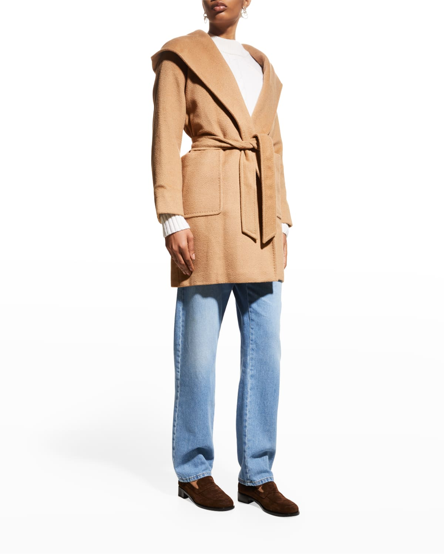 Rialto Camel Hair Belted Short Hooded Coat