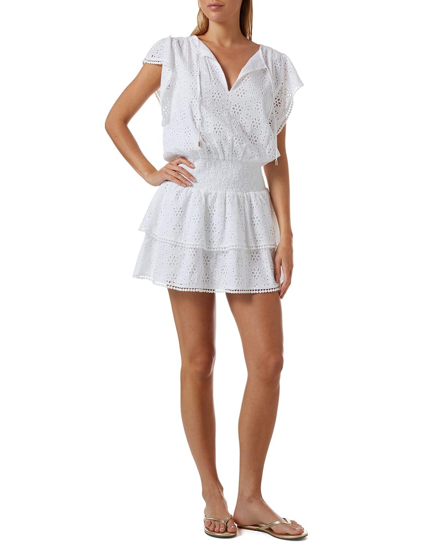 Keri Ruffle Tiered Print Coverup Dress