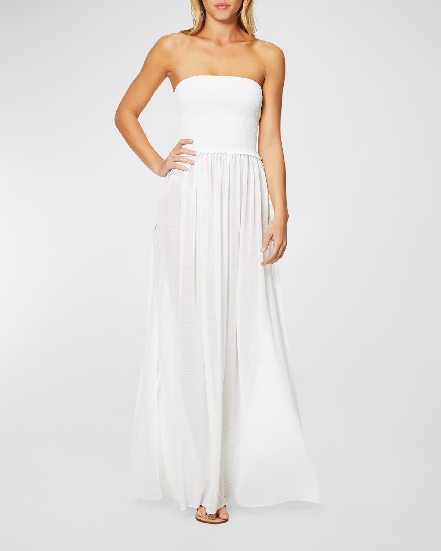 Calista Smocked Strapless Side-Split Coverup Dress