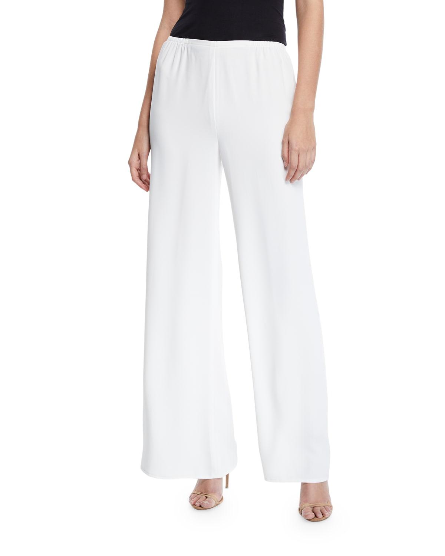 Crepe Suzette Wide-Leg Pull-On Pants