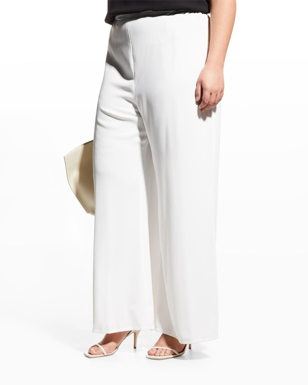 Plus Size Crepe Suzette Wide-Leg Pull-On Pants