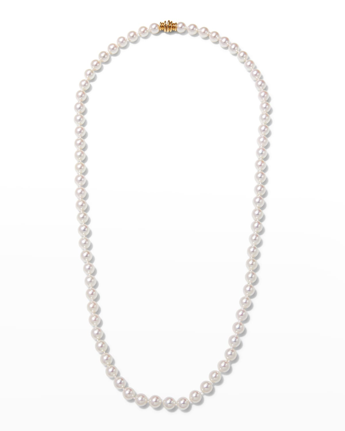 """26"""" Akoya Cultured 8.5mm Pearl Necklace with Yellow Gold Clasp"""