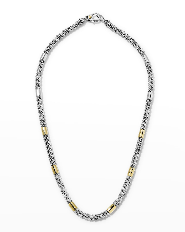 High Bar Caviar Necklace w/ 18k Gold