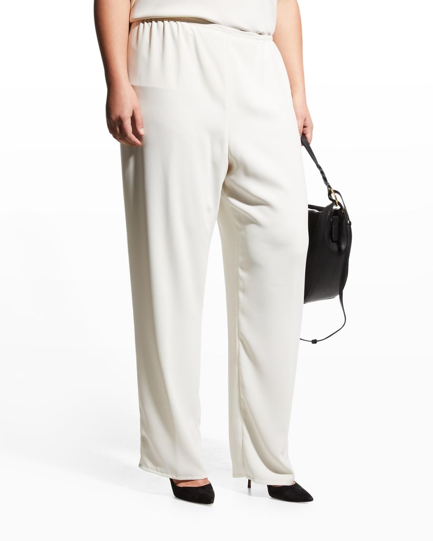 Plus Size Suzette Crepe Straight-Leg Pants