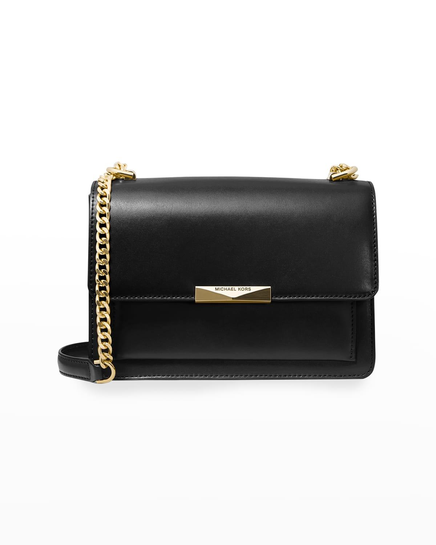 Jade Large Leather Gusset Shoulder Bag