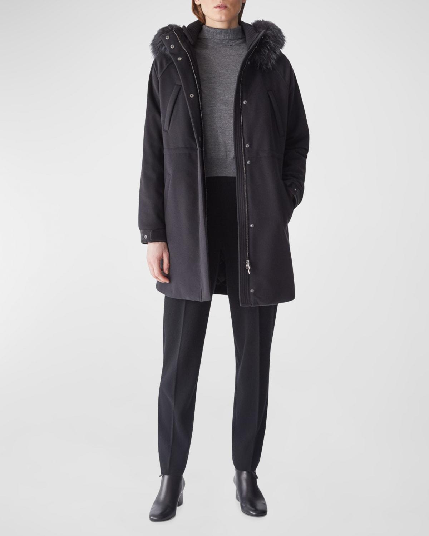 Icery Cashmere Storm System; Ski Jacket with Fox Fur
