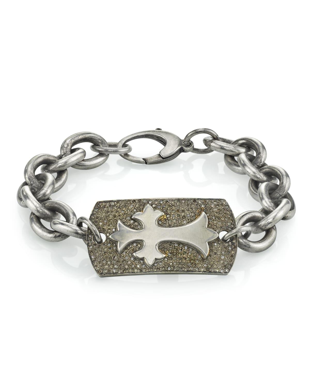 Men's Diamond Pave Cross Bracelet