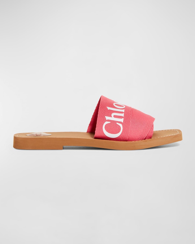 Woody Flat Logo Ribbon Slide Sandals