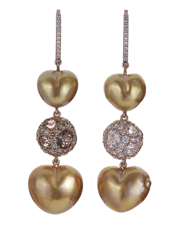 18k Rose Gold Heart-Pearl Drop Earrings w/ Diamonds & Pearls