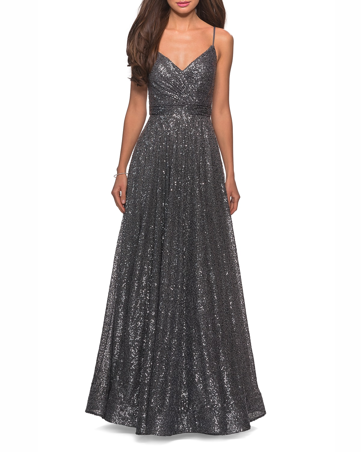 Sequin V-Neck Sleeveless A-Line Gown with Ruched Bodice