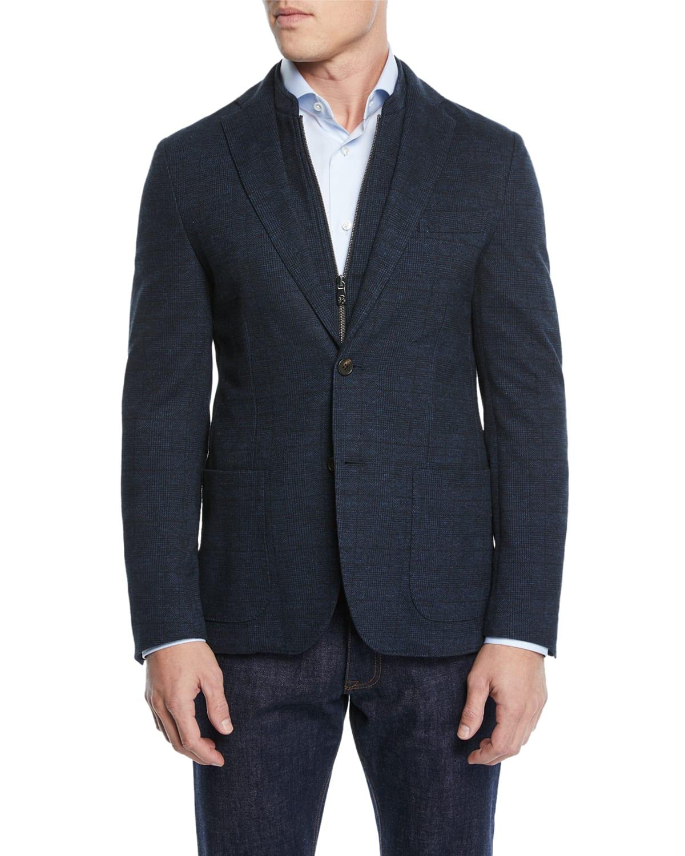 Men's Knit Prince of Wales Blazer