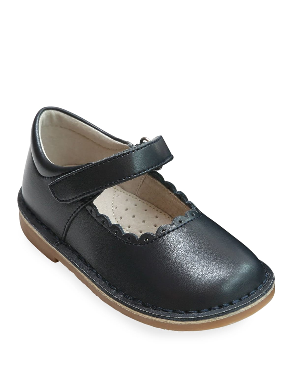 Caitlin Scalloped Leather Mary Jane