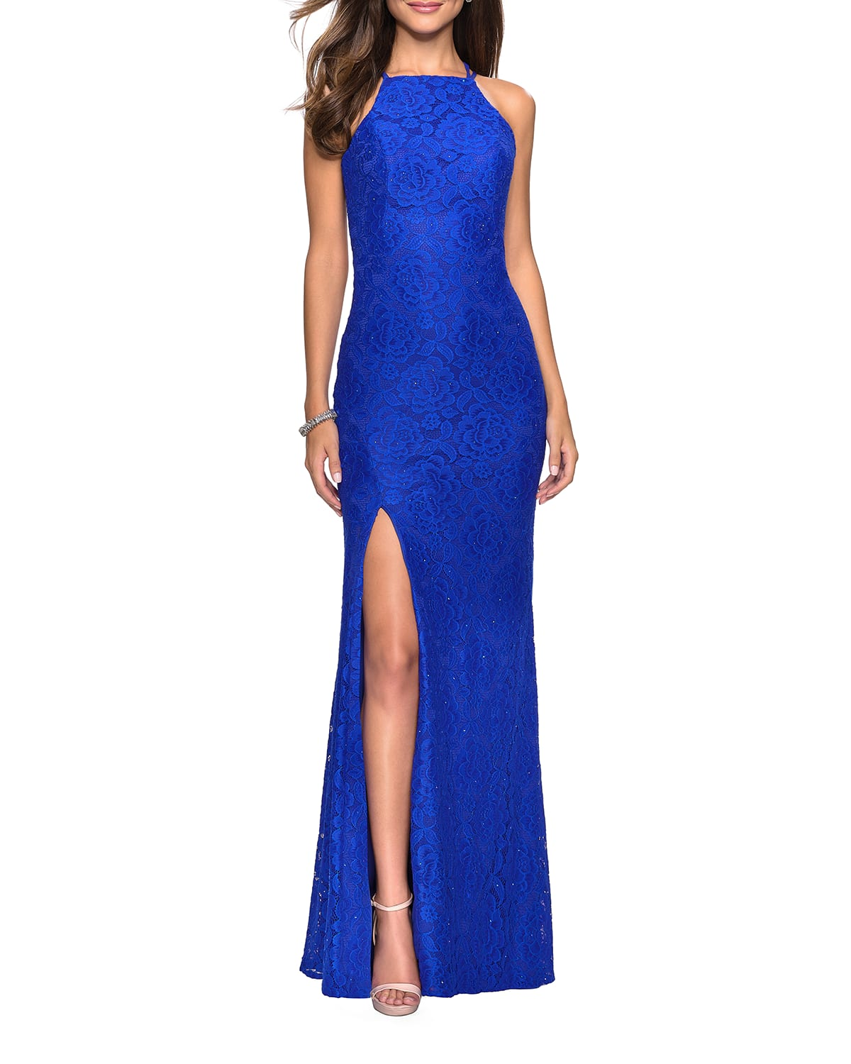 Halter-Neck Strappy-Back Stretch Lace Gown with Sequins