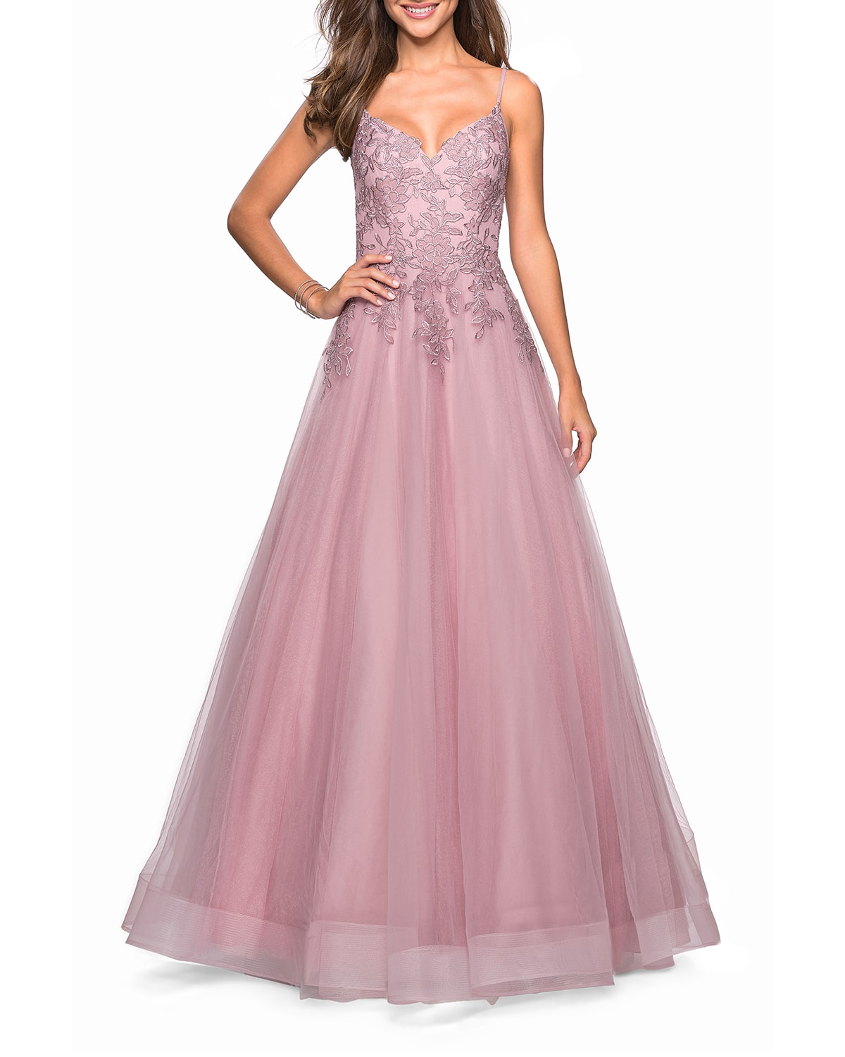 Sweetheart Sleeveless Tulle & Floral Lace Ball Gown