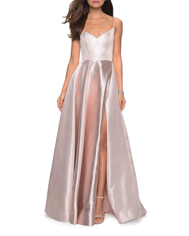Metallic Sweetheart Sleeveless Ball Gown with High Slit