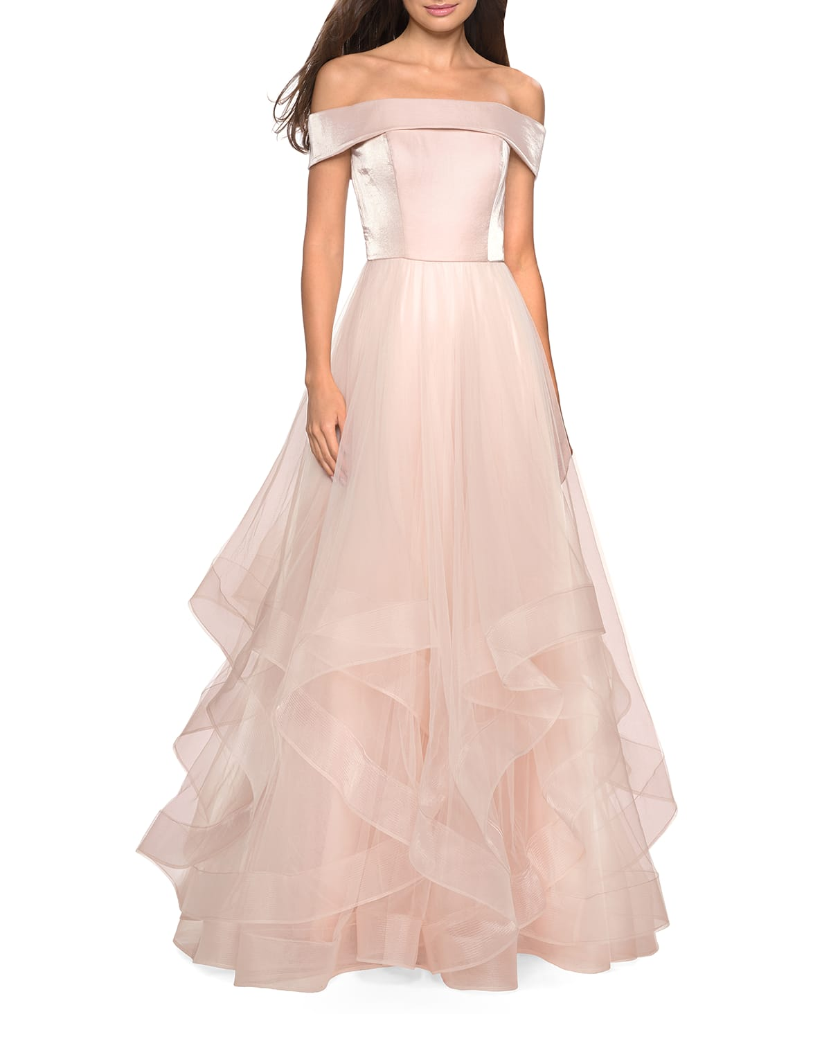 Off-the-Shoulder Banded-Sleeve Tulle Gown with Tiered Ruffle Skirt