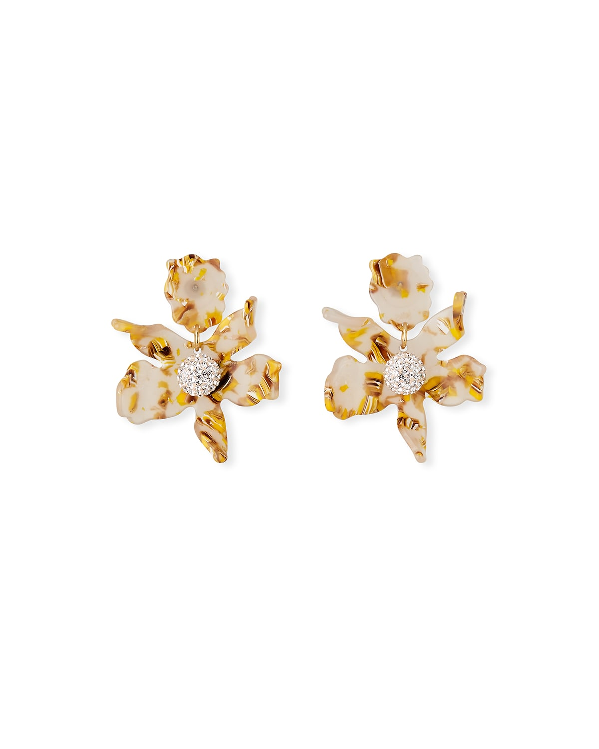 Small Crystal Lily Drop Earrings
